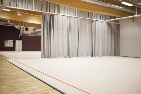 Kaksi rinnakkain sijoitettua 14m x 14m voimistelumattoa. Lähempänä olevan maton alla on kanveesi ja kauempana olevan alla urheiluparkettia.